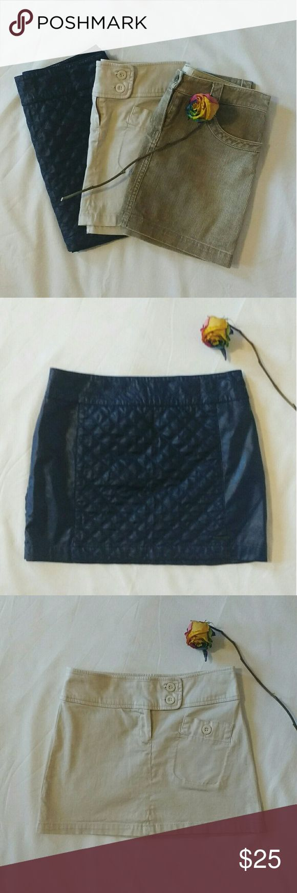🎉🎉Monday Only- Size 3 Mini Skirts🎉🎉 Size 2 three mini sexy skirts. Blue faux leather Abercrombie & Fitch, olive green corduroy Mango, beige stretchy Mango. Price is firm. Happy shoppinggggg!!!! Abercrombie & Fitch Skirts Mini