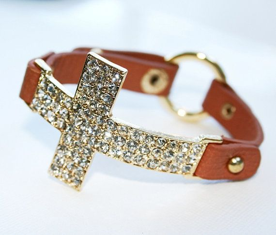Crystal Cross Bracelet  Leather Band by LuckyYouLuckyMe on Etsy, $38.00
