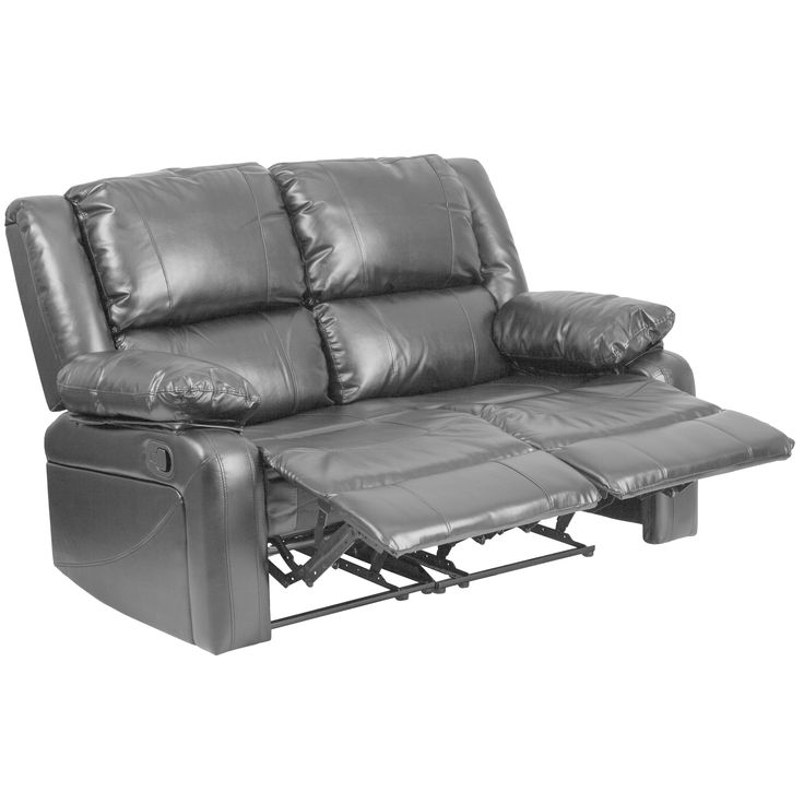 Porch & Den Stonehurst Gravenstein Leather Loveseat with Two Built-in Recliners (Black)