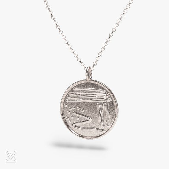 Science Jewelry: Silver Bacterial Petri Dish Necklace