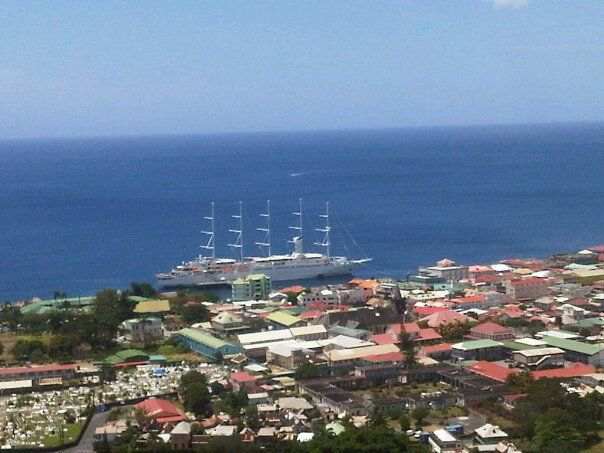Our ship the Windsurf docked in Dominica