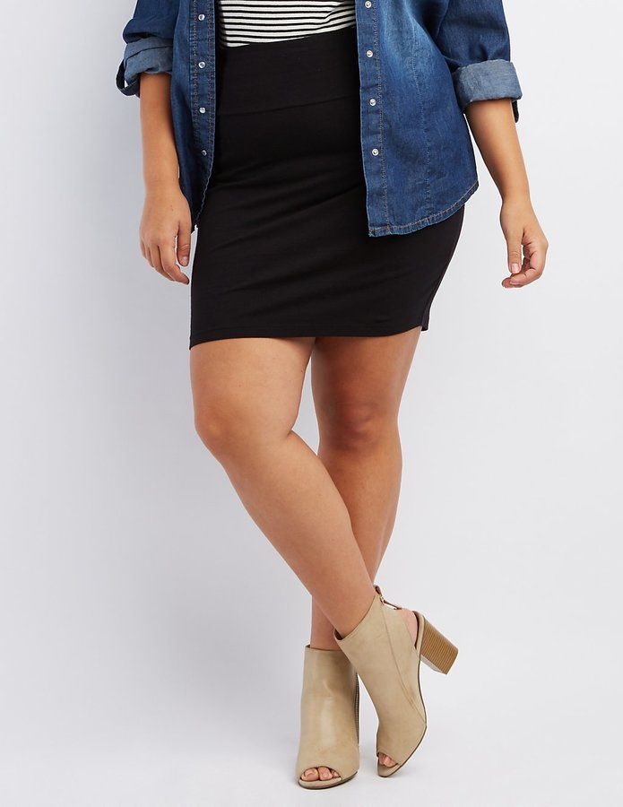 Charlotte Russe Plus Size Solid Pencil Skirt