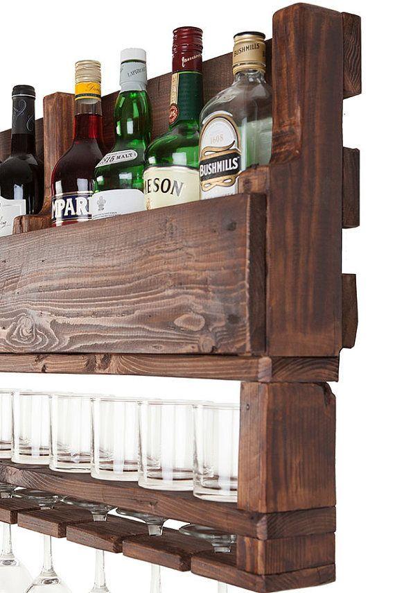 Wijnrek wijn rek van hout Wijnrek voor muur teruggewonnen