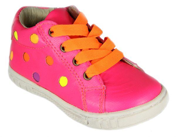 Melton - Sko m/snøre og lynlås - Neon Pink