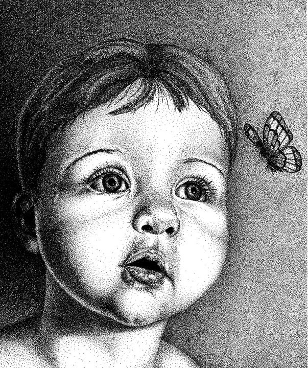 baby face  ink, pointillism technique