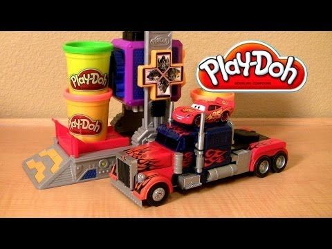 ▶ Play Doh Transformers Autobot Workshop Playset Transform Lightning McQueen in Autobots Disney Cars - YouTube