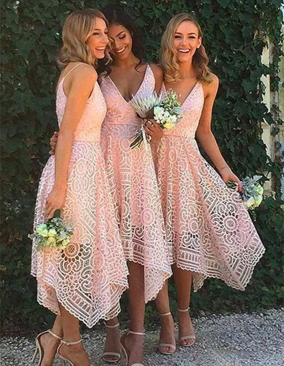 Pink Bridesmaid Dresses,A-Line Bridesmaid Dress,V-Neck Bridesmaid Gowns, Asymmetrical Bridesmaid Dresses,Lace Bridesmaid Gowns,Simple Bridesmaid Dresses,Elegant Prom Dress