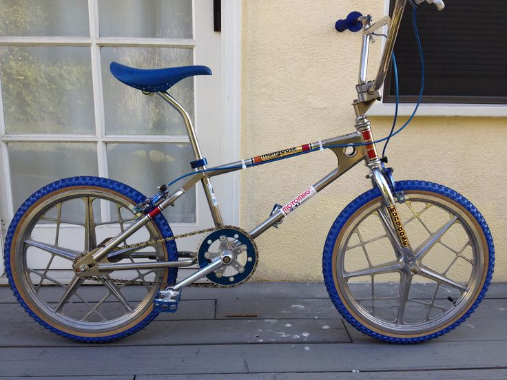 "Restored 1980 Mongoose BMX with Motomags. Had one just like this, but with ""landing gear"" forks and victory handlebar :)"