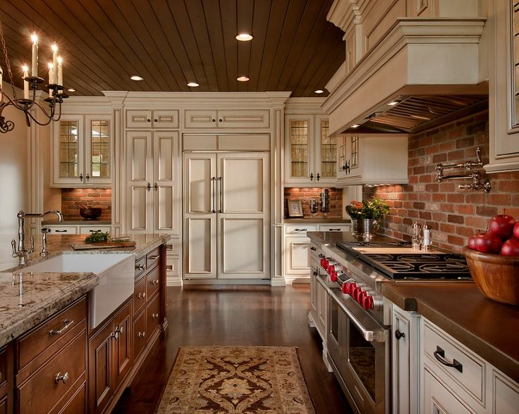 Brick Backsplash idea Makes Your Kitchen Looks Beautiful : Vintage Kitchen Design With Brick Backsplash And Classic Cabinets