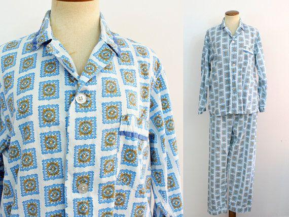 1960er Jahre Schlafanzug Herren zwei Stück Set von fluffie auf Etsy
