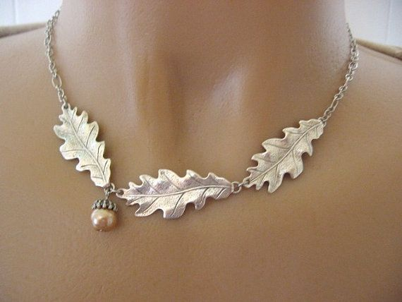 Oak Leaf Collar Necklace Acorn Necklace Silver by CharmedValley