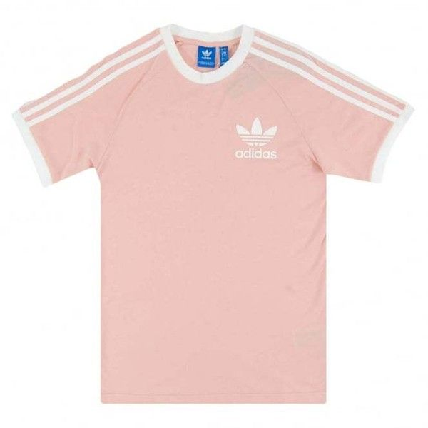 Adidas Originals California T-Shirt Vapour Pink ($35) ❤ liked on Polyvore featuring tops, t-shirts, short sleeve tops, short sleeve tee, adidas originals t shirt, adidas originals tee and pink t shirt