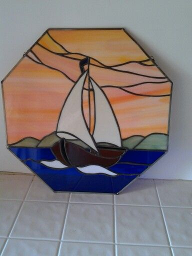 Stained glass boat