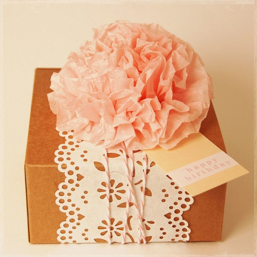 Brown box or brown paper + paper lace + paper pompom and cotton string. pretty.