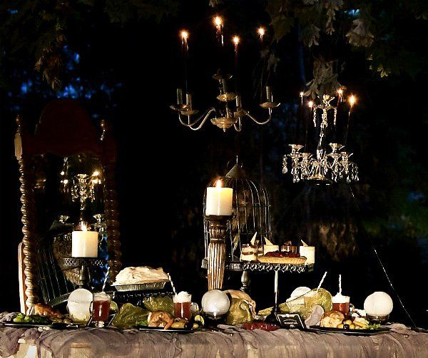 see if chandelier is still in garage. if so, remove bulbs & add candles.
