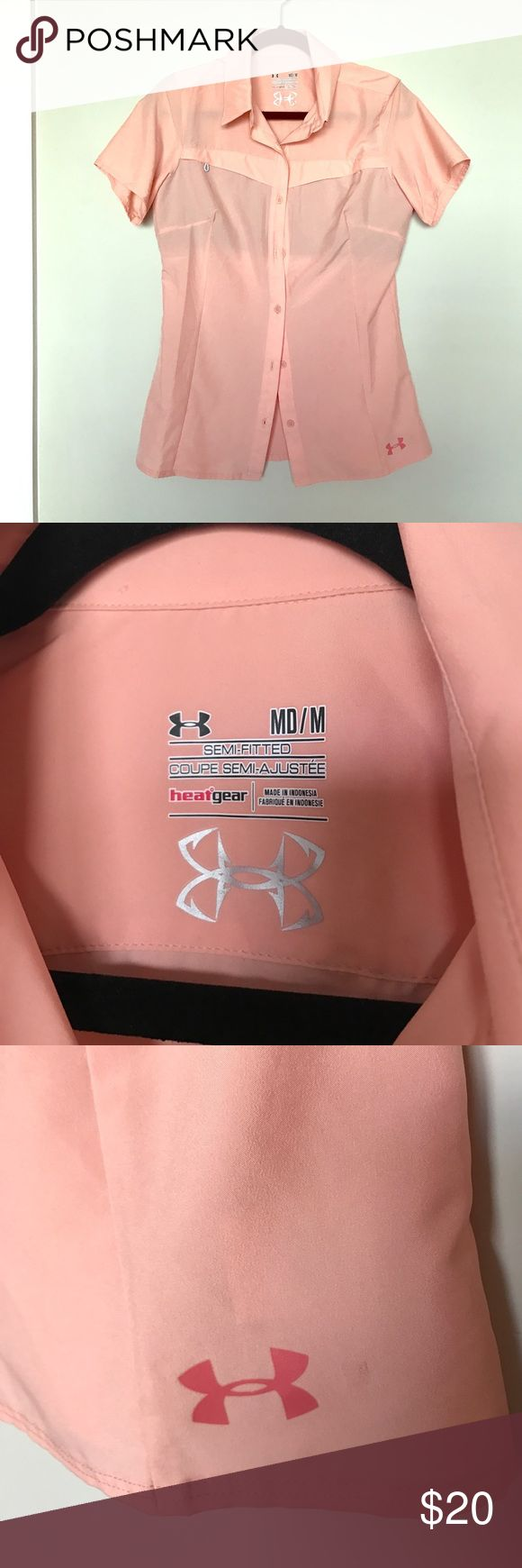 Peach Under Armour Fishing Shirt Pretty peach color! UA brand Fishing Shirt. GUC. Shows small signs of wear but overall good condition with no hole or rips etc. Coming from a pet friendly home of one adorable little Pomsky named Lulu :) Under Armour Tops Button Down Shirts