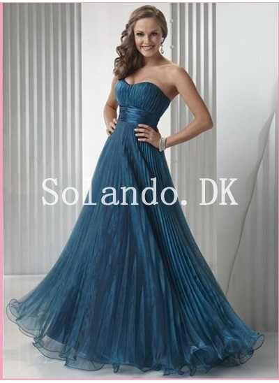 En Linje Blå Scoop Halsudskæring Pleated Organza Brudepigekjoler