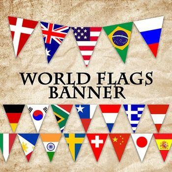 World Flags Banner - Classroom Decoration