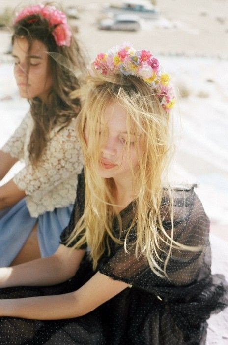 she wore flowers in her hair