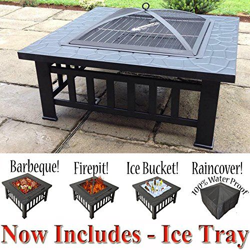3 in 1 Outdoor Garden Fire Pit BBQ Firepit Brazier Stove Patio Heater Grill Rack