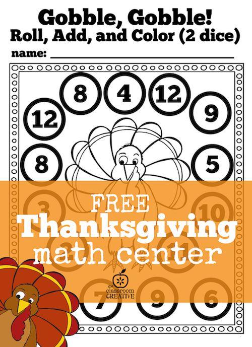 FREE Thanksgiving math center for kindergarten and first grade