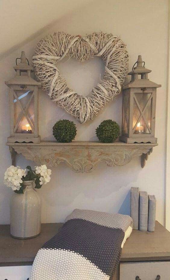 This is really cute, kinda like the idea of sticking a mantle on the wall without the fireplace!