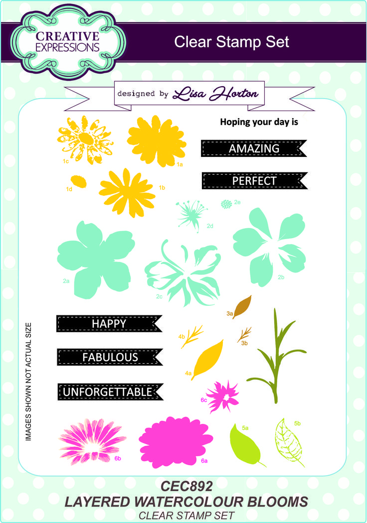A range of A5 stamp sets designed by Lisa Horton for Creative Expressions. Perfect for papercrafts & home decor projects.