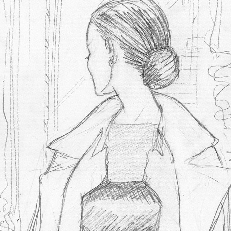 Sketch of woman putting on a coat
