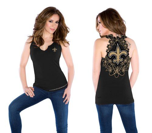 New Orleans Saints Ladies Touch Cut Away Tank - BLACK & GOLD SPORTS