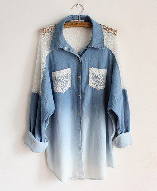 Fashion and lovely Bat sleeve loose lace collar long denim shirts