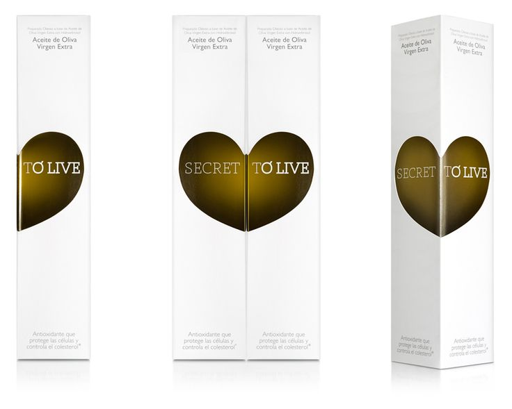 Packaging design by Soporte Comunicación for antioxidant and nutrient infused olive oil Secret To Live