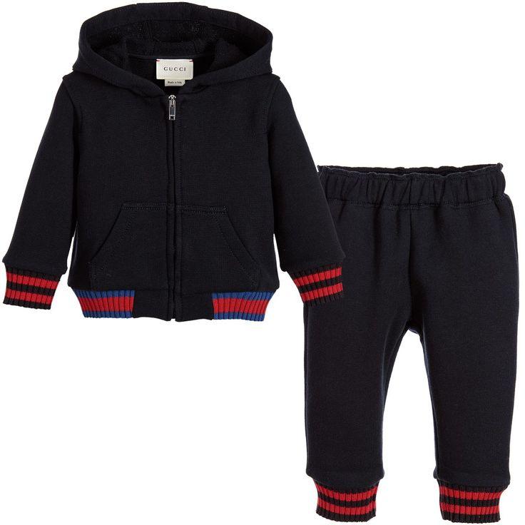 Gucci Baby Boys Navy Blue Cotton Jersey Tracksuit at Childrensalon.com