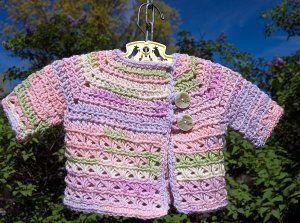 Baby in Bloom Sweater   AllFreeCrochet.com