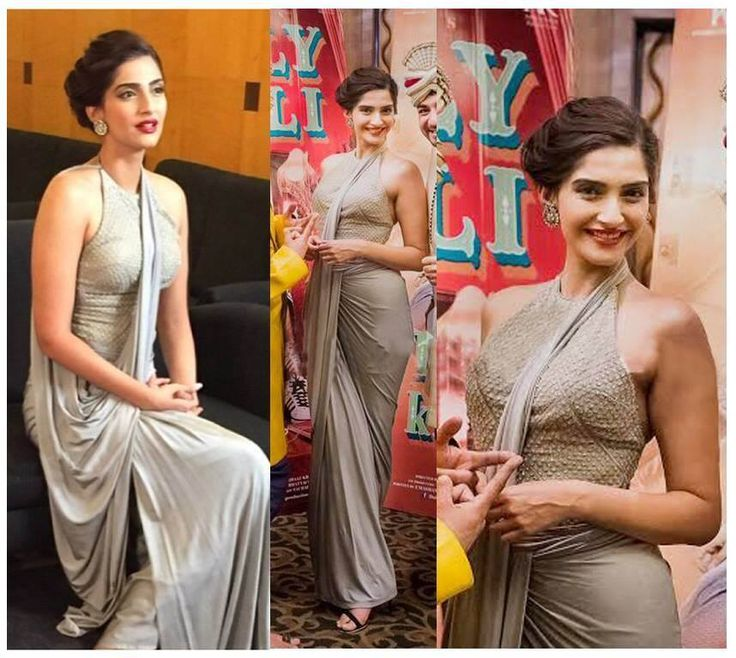 #Spotted Sonam Kapoor draped in influences of the classic, donning #ShantanuNikhil glamorous cocktail couture Saree Gown, which makes for a flattering silhouette