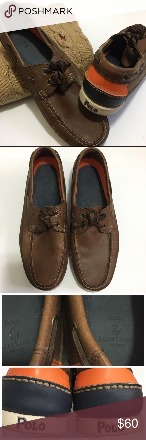 Polo by Ralph Lauren leather boat shoes Polo by Ralph Lauren leather boat shoes. Leather laces. Orange and navy accent around heel. Gently used; main signs of wear include dirt around rubber sole and on bottom of sole, and minor light scratches on upper. Polo by Ralph Lauren Shoes Boat Shoes