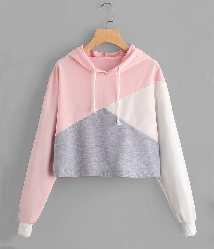 Color Patchwork Sweet Hoodie Sweatshirts