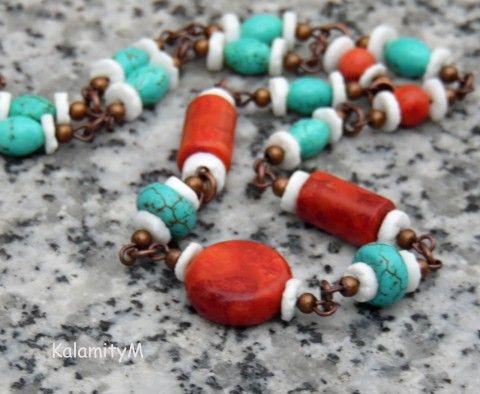 Maják-náhrdelník z korálu,tyrkenitu náhrdelník dárek korál tyrkenit