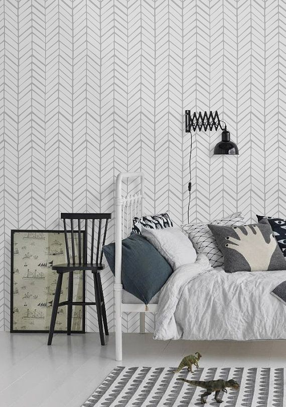 Self adhesive vinyl wallpaper - Chevron pattern print  - 026 SNOW/ WHISPER