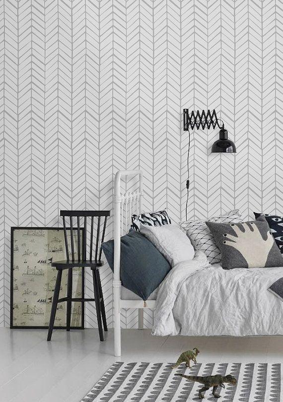 Self adhesive vinyl wallpaper - Chevron pattern print  - 026 SNOW/ WHISPER