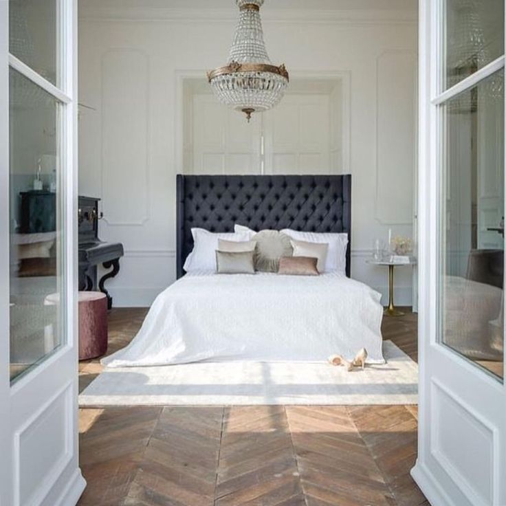 . Tufted headboard, white bedding, chandelier, Parisian style, chic bedroom, my style, master bedroom ideas