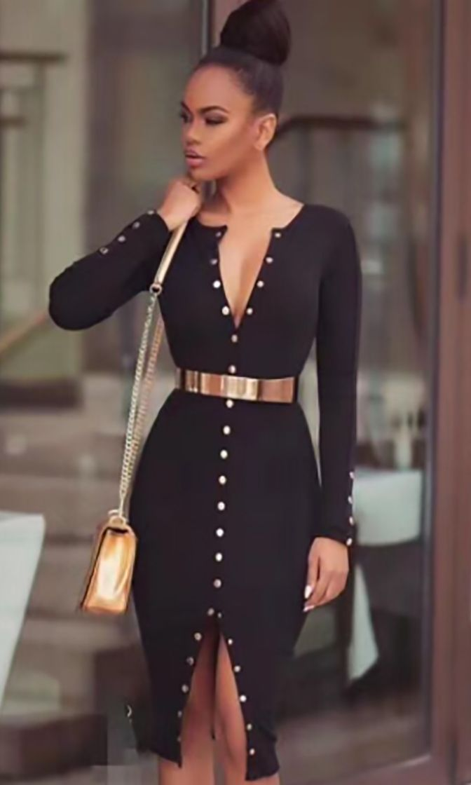 62430d38e09 Perfect Date Long Sleeve Crew Neck Snap Button Bodycon Bandage Midi Dress -  2 Colors Available
