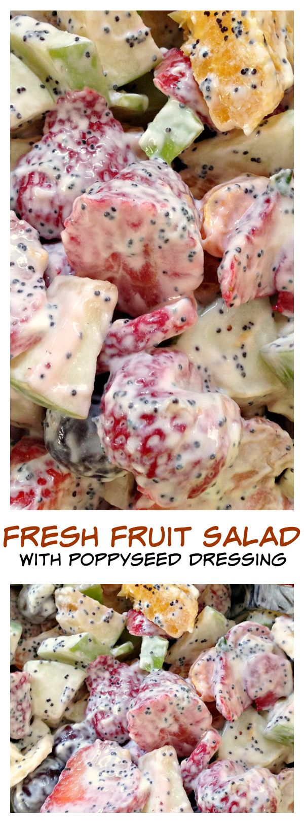Fresh Fruit Salad with Poppyseed Dressing Made with 1 small container triple zero strawberry Greek yogurt -nh