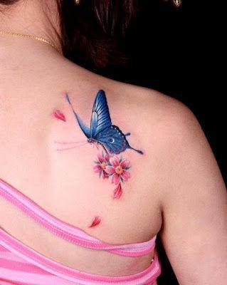 Mariposa Azul y Flores