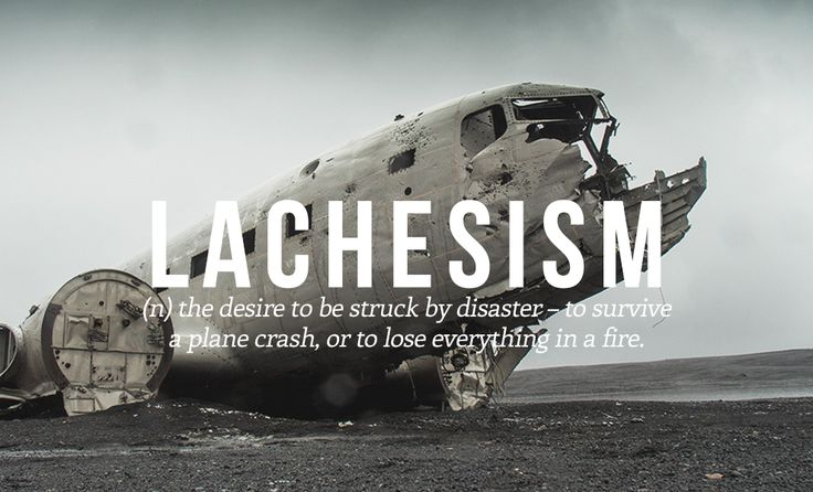 Lachesism (n) the desire to be struck by disaster - to survive a plane crash, or to lose everything in a fire.