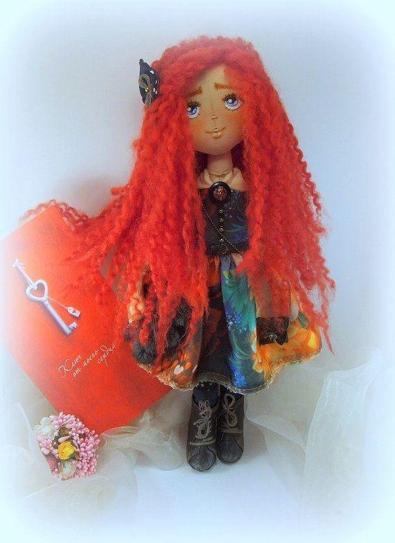 Bildergebnis für weibliche puppe, gesicht: orange, lange schwarz-orange haare
