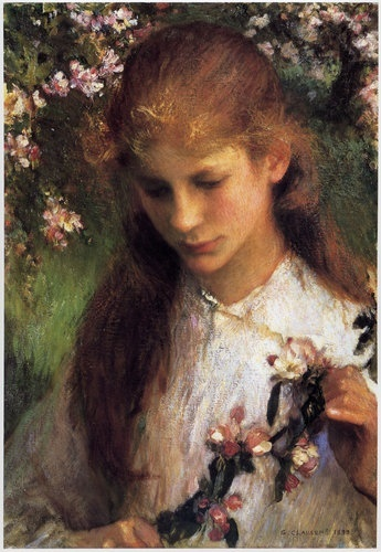 Katy under the apple trees. George Clausen, Apple Blossom. 1899.
