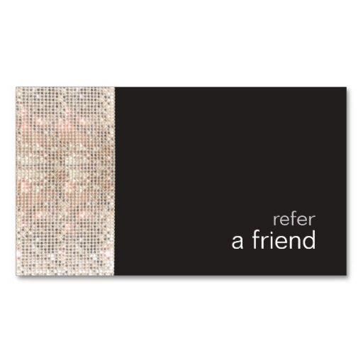 Modern Hip FAUX Sequins Salon Refer A Friend Black Business Cards
