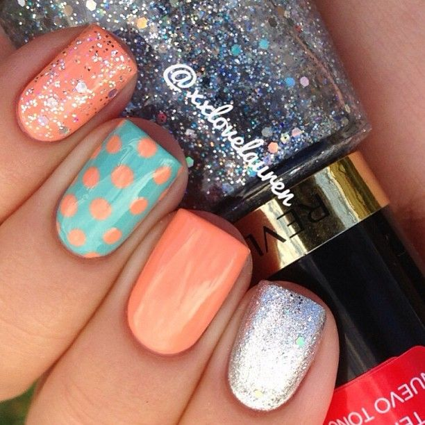Polka dots, peach, blue, glitter nails. Revlon. Nail Art. Nail Design. Polished. Polishes.Instagram by xxlovelauren
