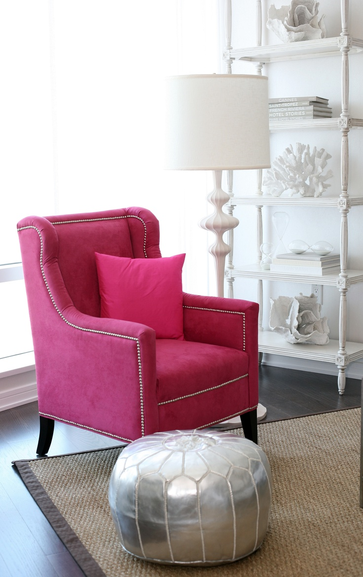 Lovely Hot Pink Chair, Shiny Silver Ottoman...actually All Of It. I