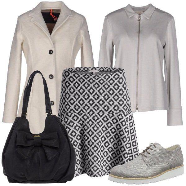 Outfit+dalla+linea+pulita+e+ordinata+che+regala+femminilità+e+grazia.+Il+look+che+ho+creato+è+composto+da+una+camicetta+con+colletto+chiusa+da+una+zip+abbinata+ad+una+gonna+a+campana+in+fantasia+optical,+stringate+neutre,+cappotto+a+monopetto+in+lana+in+colore+bianco+sporco,+borsa+media+con+fiocco+in+similpelle+effetto+laminato.